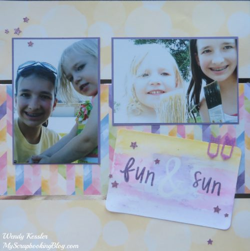 Fun & Sun Watercolor Layout by Wendy Kessler