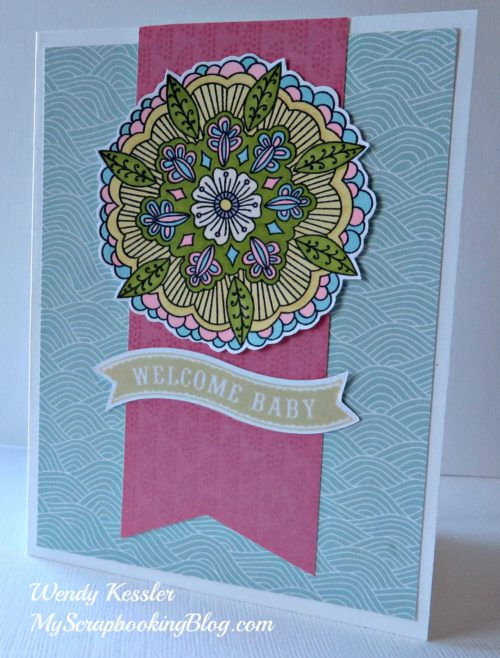 Ornate Blossoms Baby Card by Wendy Kessler
