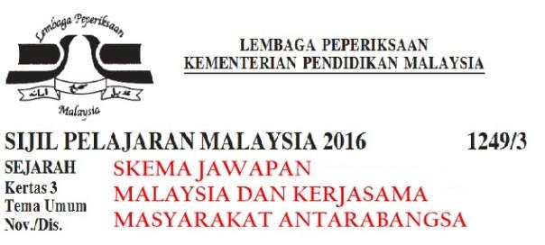 Skema Jawapan Malaysia Dan Kerjasama Antarabangsa