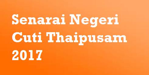 Senarai Negeri Cuti Thaipusam 2017