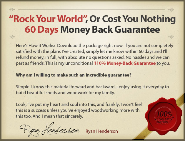 RyanShedPlans Money Back Guarantee