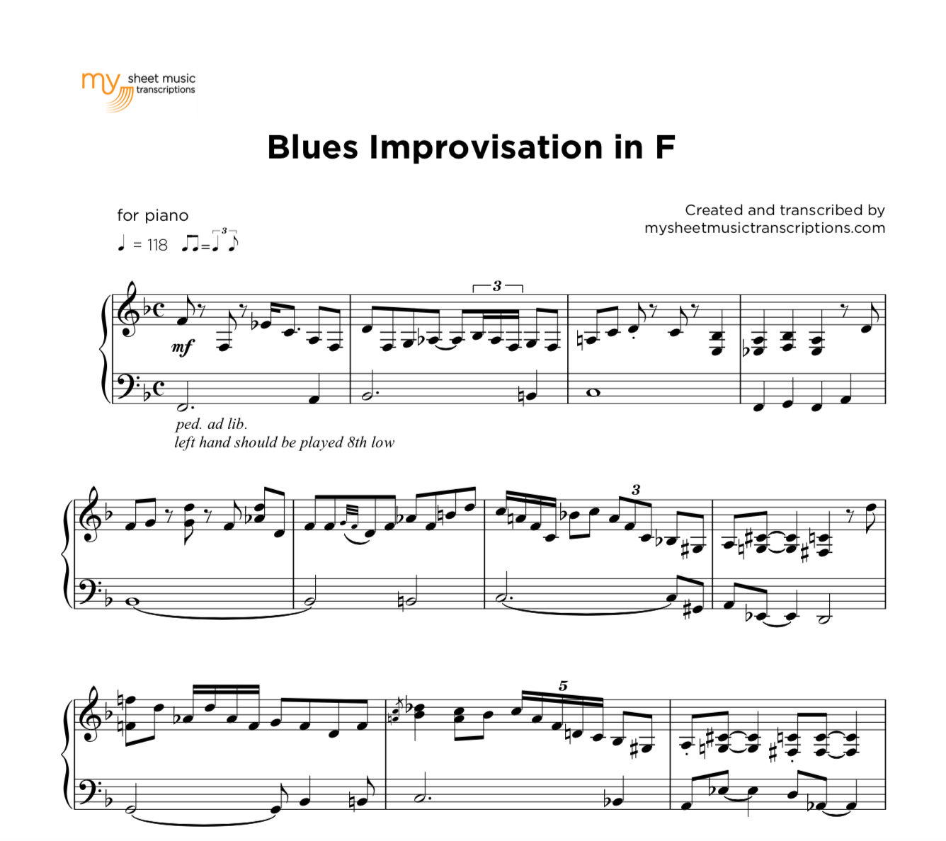 Easy Blues Piano Sheet Music