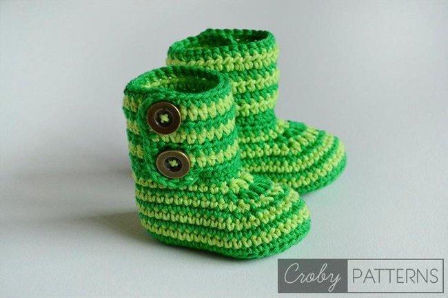 Crochet Baby Booties / Green Zebra