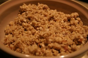 crumbly pecan topping for bread pudding