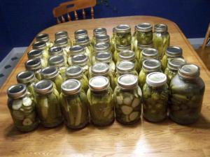 Jars of pickles and pickled peppers