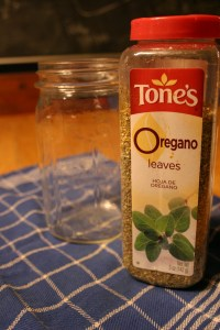 use a canning jar and large quantities of oregano