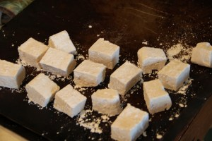 spread marshmallows on a cookie sheet to dry