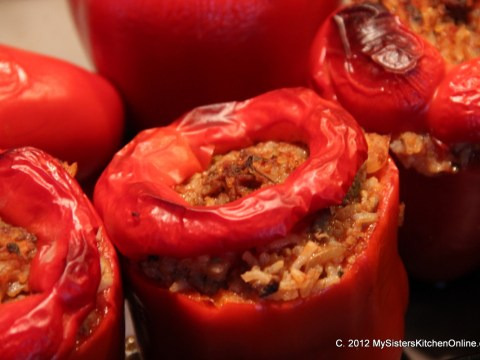 Baked Stuffed Red Bell Peppers