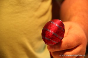 An egg wrapped in old silk tie