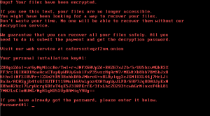 Screenshot of the Bad Rabbit Ransomware Note Presented to Infected Users