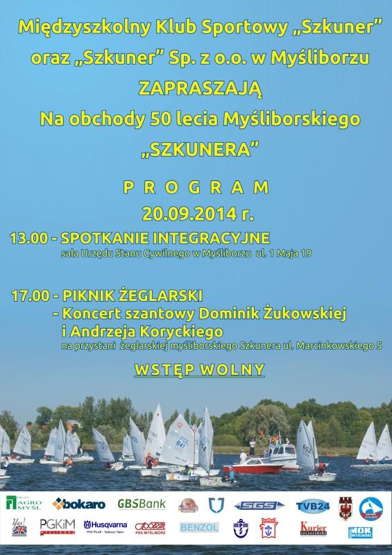 plakat z programem obchodów 50 lecia Szkunera