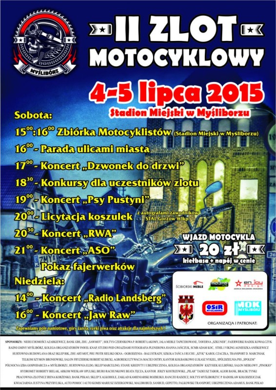 Program II zlotu motocyklowego w Myśliborzu