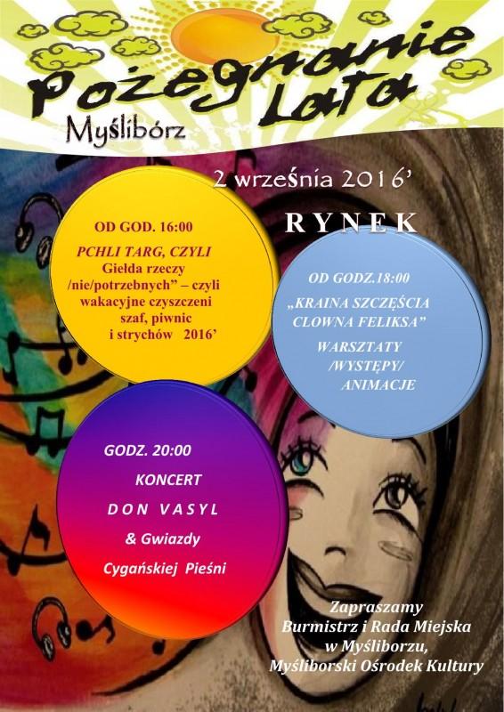 plakat informacyjny o wydarzeniu w Myśliborzu Pożegnanie lata 2016