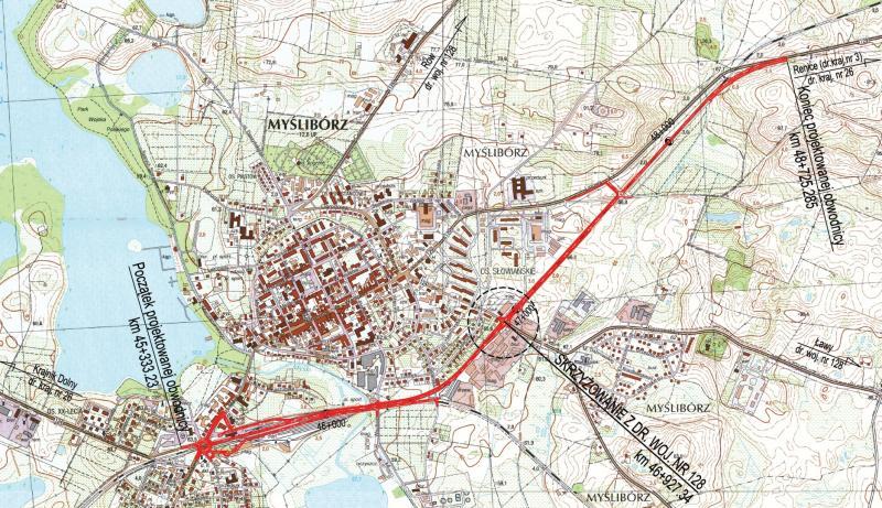 obwodnica myśliborza naniesiona na mapę