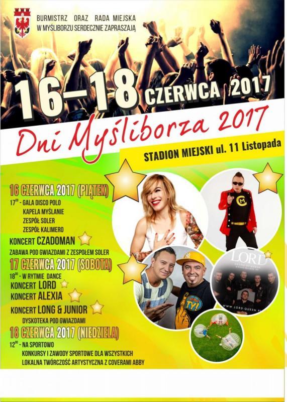 Plakat informacyjny Dni Myśliborza 2017