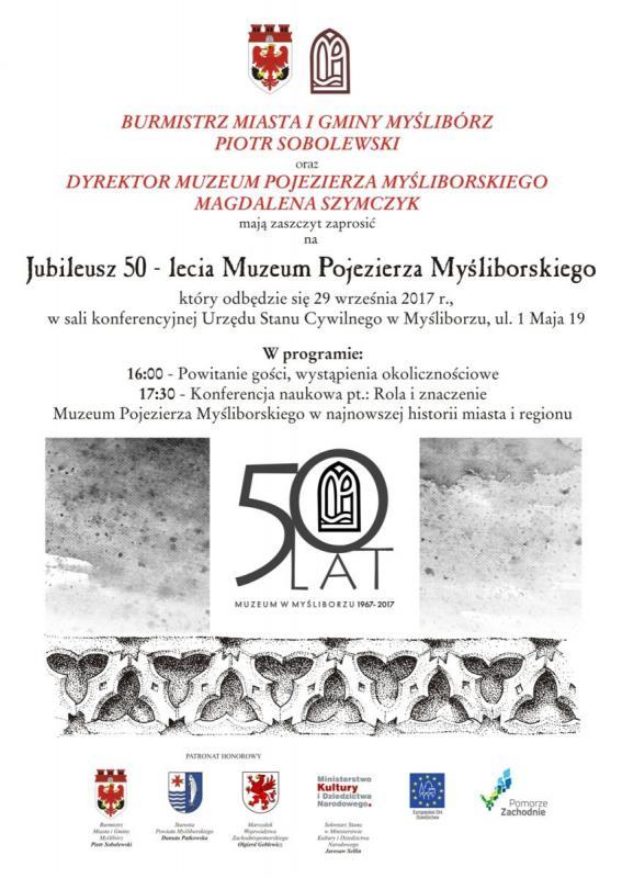 Plakat z programem obchodów 50-lecia Muzeum Myślibórz