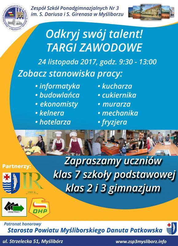 Plakat Targi Zawodowe 2017