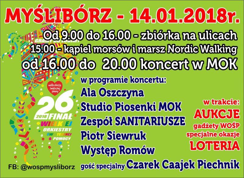 Wielka Orkiestra Świątecznej Pomocy w Myśliborzu WOŚP 2018