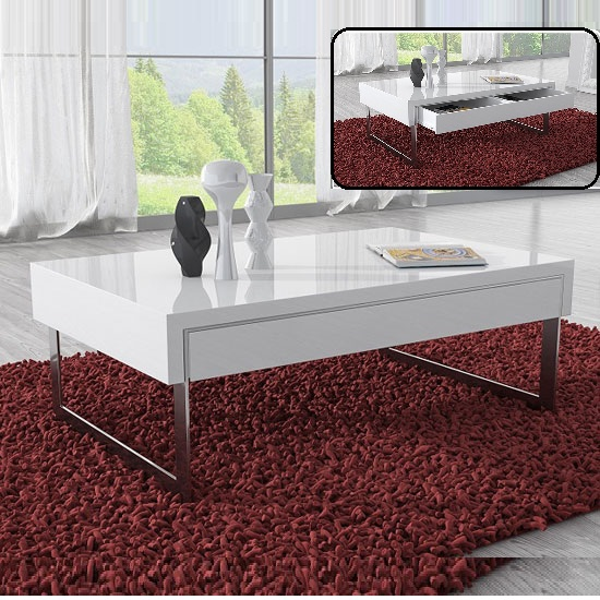 casa coffee table in white gloss with chrome legs and drawer
