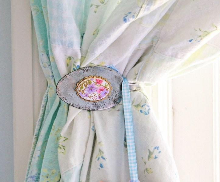 diy vintage spoon curtain tie backs