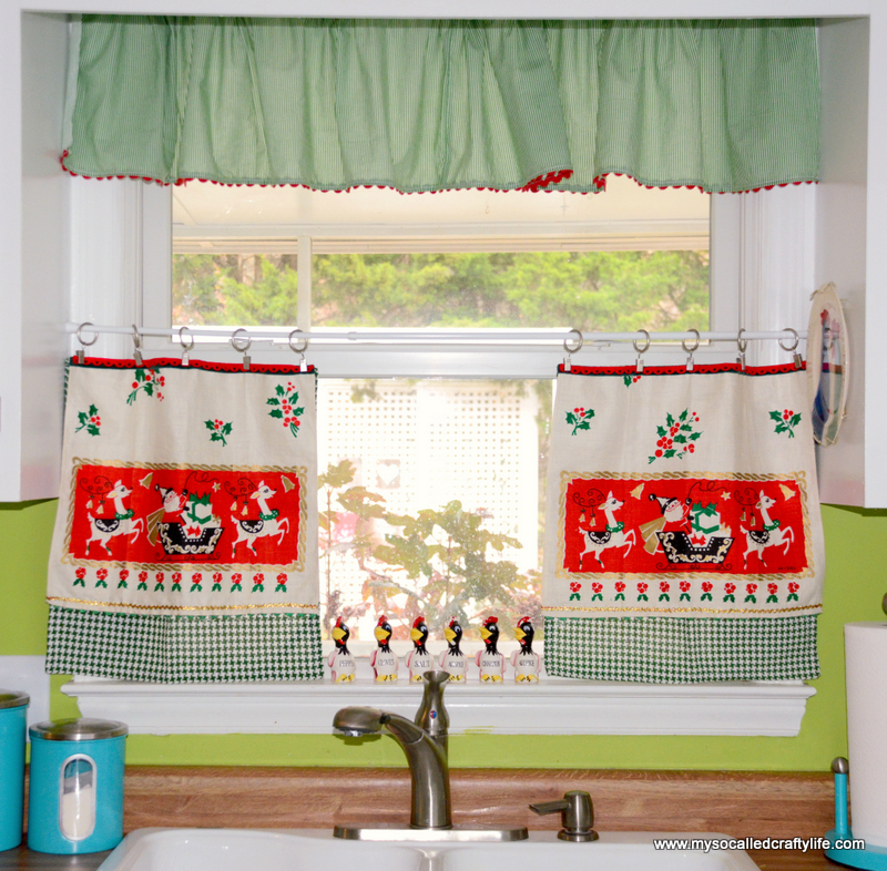 DIY Upcycled Vintage Tea Towel Christmas Curtains