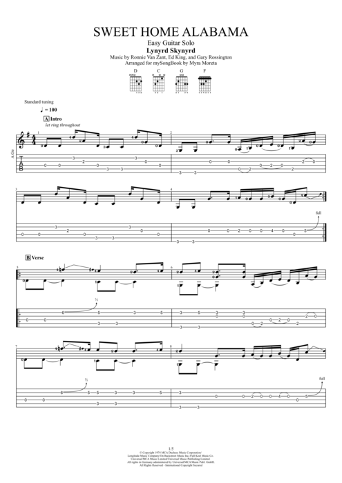 Includes easy guitar tab for guitar or strum or voice in g major. Sweet Home Alabama By Lynyrd Skynyrd Easy Solo Guitar Guitar Pro Tab Mysongbook Com