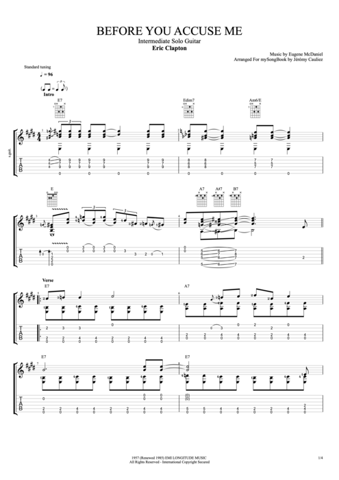 We have an official sweet home chicago tab made by ug professional guitarists.check out the tab ». Before You Accuse Me By Eric Clapton Intermediate Solo Guitar Guitar Pro Tab Mysongbook Com