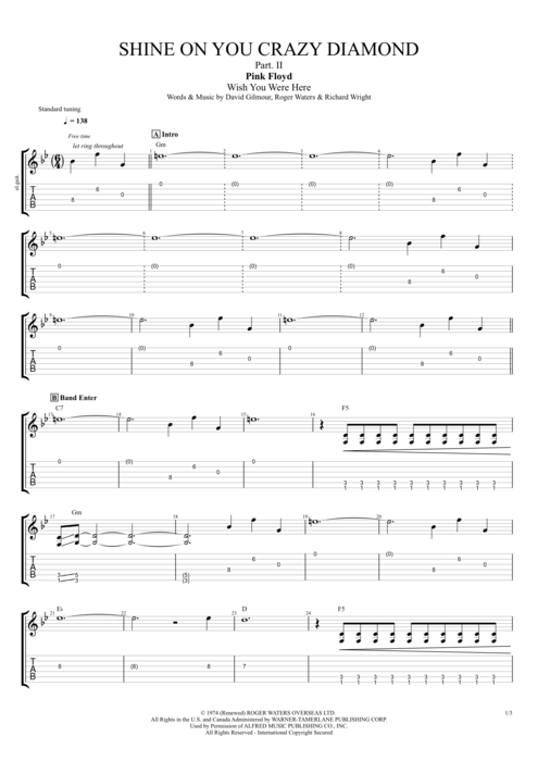 Shine On You Crazy Diamond PII By Pink Floyd Full Score Guitar Pro Tab