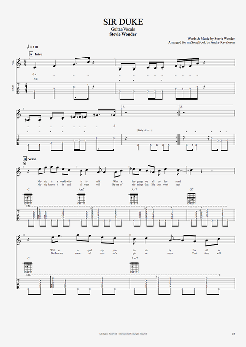 I Cant Dance Guitar Tab