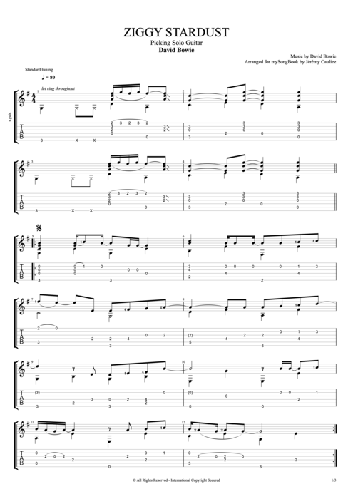 Ziggy Stardust By David Bowie Picking Solo Guitar Guitar Pro Tab