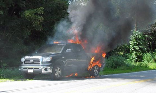 Image result for pickup truck on fire