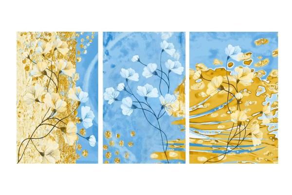 Blue N' Gold Triptych Canvas art