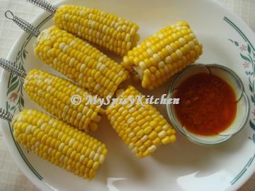 corn on the cob, garlic butter sauce