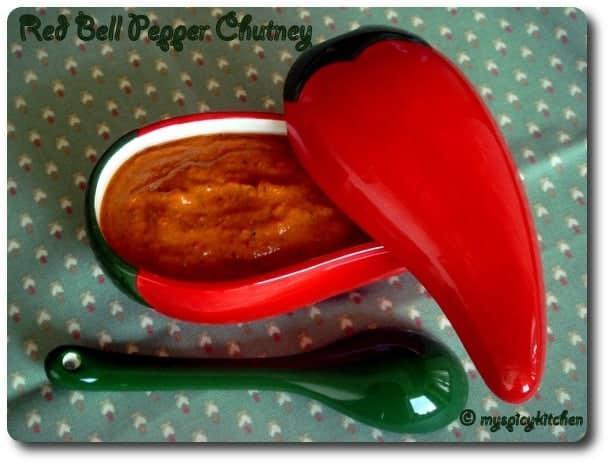 red bell pepper chutney, red bell pepper pacchadi