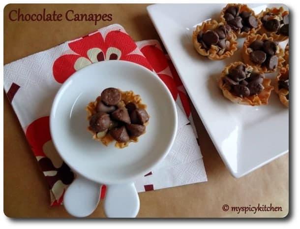 Chocolate Mela, Chocolate Canapes, Phyllo Shell Recipe, Blogging Marathon,