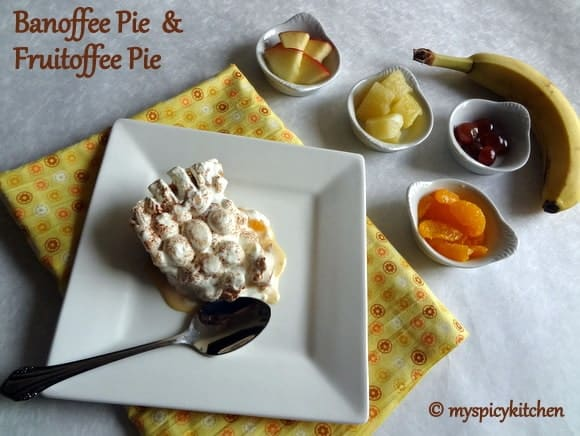Banoffee pie, fruit toffee pie, banana toffee pie