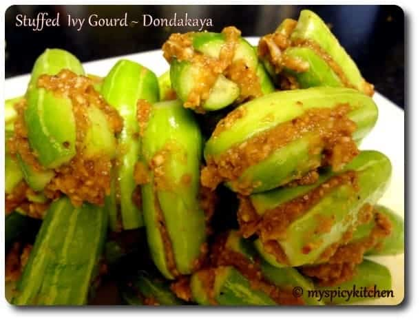 Stuffed Ivy Gourd, stuff ivy gourd masala, tindora bharvan, stuffed tindora, tindora masala, blogging marathon