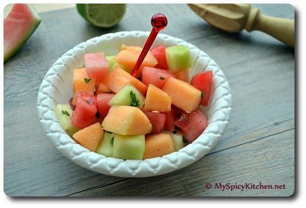 Melon Salad, Summer Salad, Spicy melon salad, blogging marathon