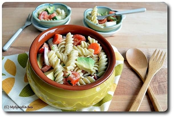 Avocado Pasta Salad, Avocado Salad, Blogging Marathon