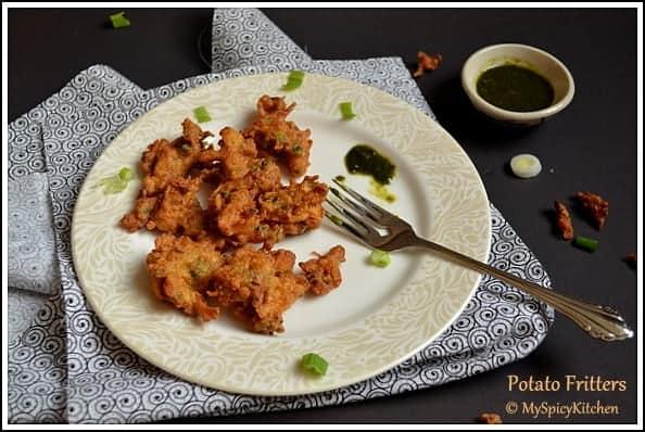 Blogging Marathon, Alu Pakode, Alu Pakoda, Alugadda pakodi, Potato Fritters