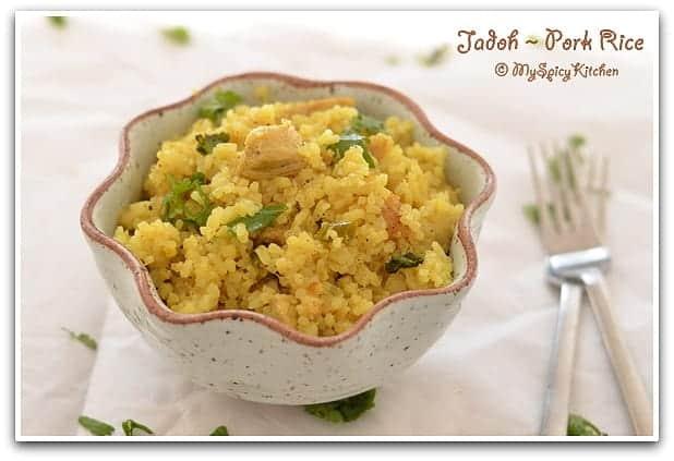 Pork Rice, Blogging Marathon, Northeast Indian Cuisine, Cuisine of Meghalaya, Blogging Marathon