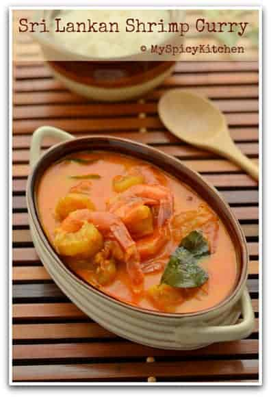 Sri Lankan Prawn Curry, Blogging Marathon, Around the world in 30 days with ABC cooking, Sri Lankan Food, Sri Lankan Cuisine,