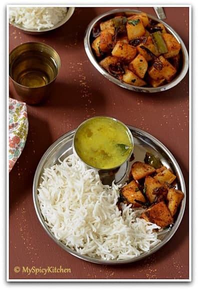 Baked Potato Fry, Blogging Marathon, Baking Marathon, FireUpYourOven, Potato Fry, Potato Curry, Aloo Fry, Aloo Curry, Aalugadda, Bangaldumpa,