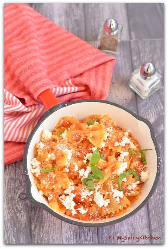 Pasta with Fresh Tomato Sauce and Ricotta, National Pasta Month, Farfalle, Cooking from Cookbook Challenge, CChallenge,