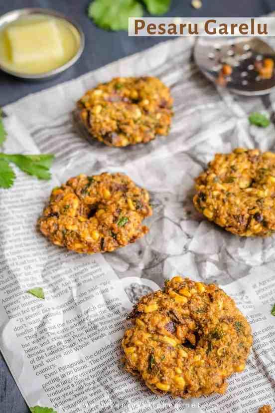 Pesaru Vada, Moong Dal Vada, Pesaru Garelu, Mong Dal garelu, Mung Dal Vada, South Indian Food, Indian Food, Breakfast, Snack, Blogging Marathon,
