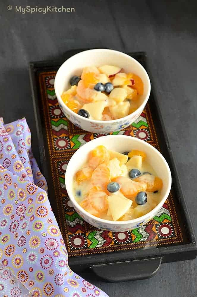 Fruit Salad with Mock Custard , Fruit Salad, Custard, Custard Sweet. Blogging Marathon,
