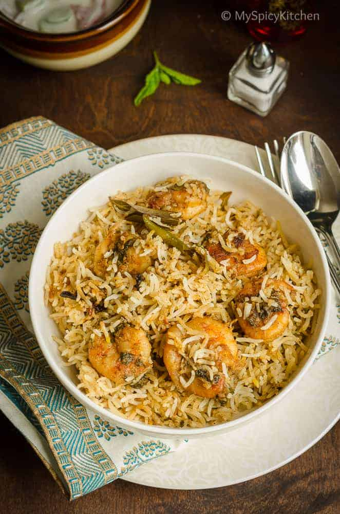 Blogging Marathon, Cooking Carnival, Protein Rich Food, Cooking With Protein Rich Ingredients, Cooking With Shrimp, Shrimp Recipes, Seafood, Prawns, Shrimp Biryani, Shrimp Dum Biriyani, Hyderabadi  Prawn Biryani, Hyderabad Prawn Dum Biryani, One Pot Meal, Biryani,