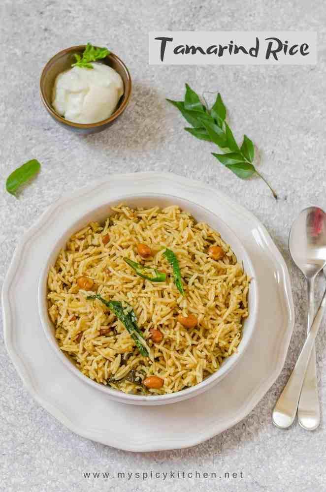 Tamarind Rice, Tamarind Pulihora, Chintapandu Pulihora, Pulihora, Tamarind Flavored Rice, Blogging Marathon,