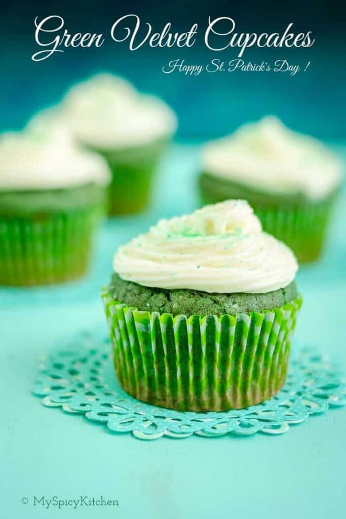 St Patrick's Day Green velvet cupcakes, St Patrick's Day Green velvet cupcakes with cream cheese frosting, Green velvet cupcake, velvet cupcakes, St. Patrick's Day, Festivals in  March,  International Festivals, Irish Food, Irish Festival,