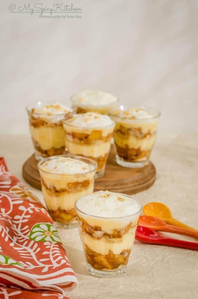 Apple trifle pudding, mini apple trifle pudding, apple trifle, apple trifle pudding is a quick and easy dessert, apple dessert, dessert,